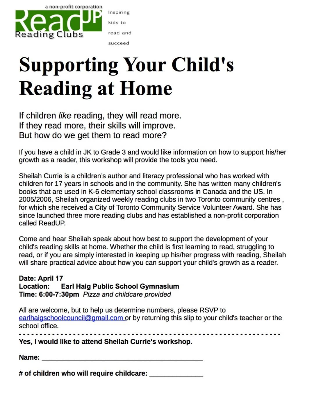Read Up Parent Workshop