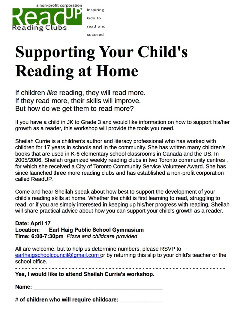 Read Up Parent Workshop