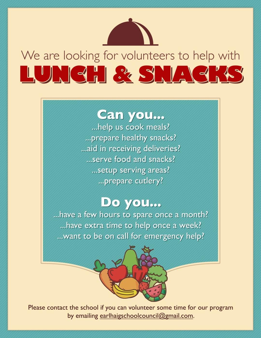 Volunteers Needed Snack & Lunch Programs!