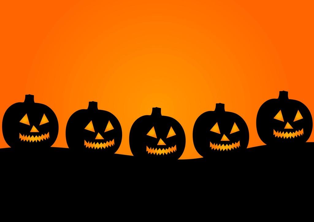 Row of jack o' lanterns