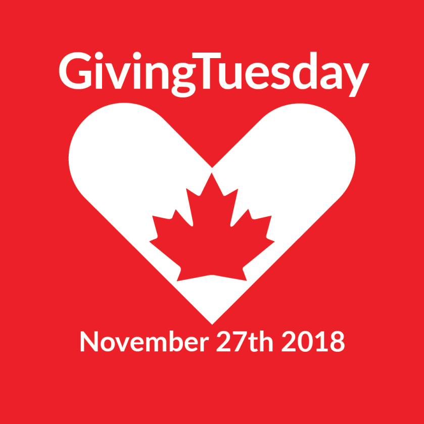 GivingTuesday heart and maple leaf on red background