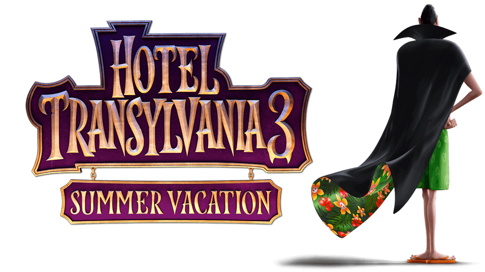 Hotel Transylvania 3 movie name and Dracula standing and looking away from the camera