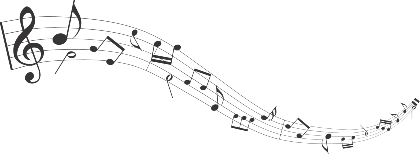 Treble clef and various music notes on a staff trailing off in the distance