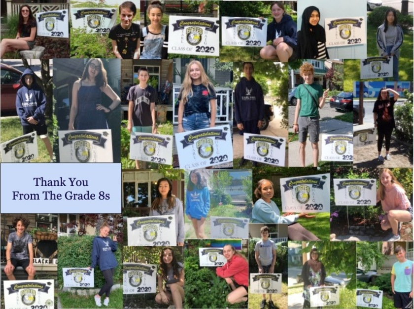 A collage of Earl Haig students standing with 2020 graduation signs